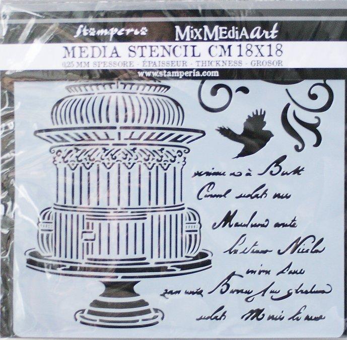 スタンペリア【Little cage with scriptures】 厚手 ステンシルシート♪ 18x18cm KSTDQ21 テンプレート エンボス Stamperia