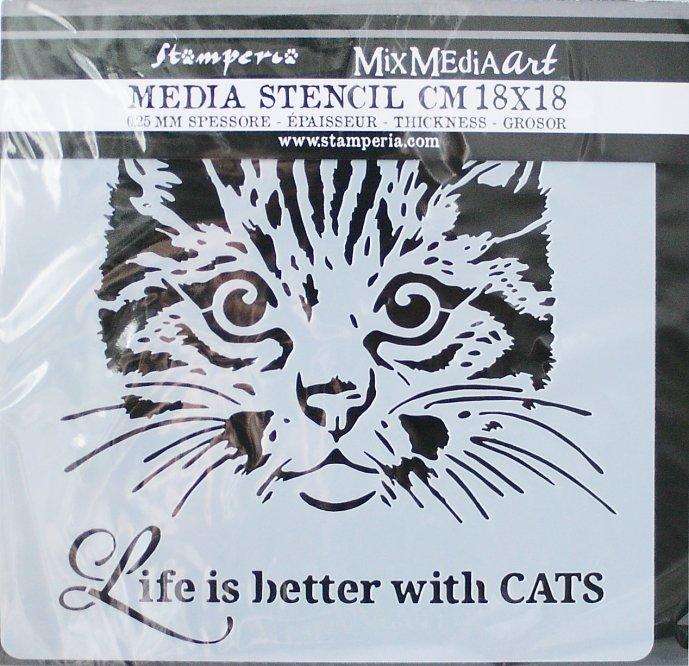 スタンペリア 【Cat】 厚手 ステンシルシート♪ 18x18cm KSTDQ24 テンプレート エンボス Stamperia