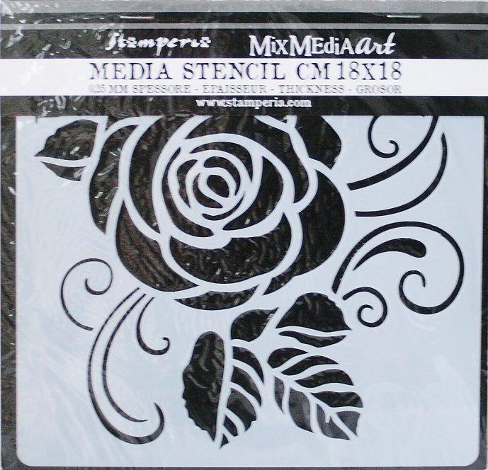 スタンペリア 【Rose】 厚手 ステンシルシート♪ 18x18cm KSTDQ11 テンプレート エンボス Stamperia