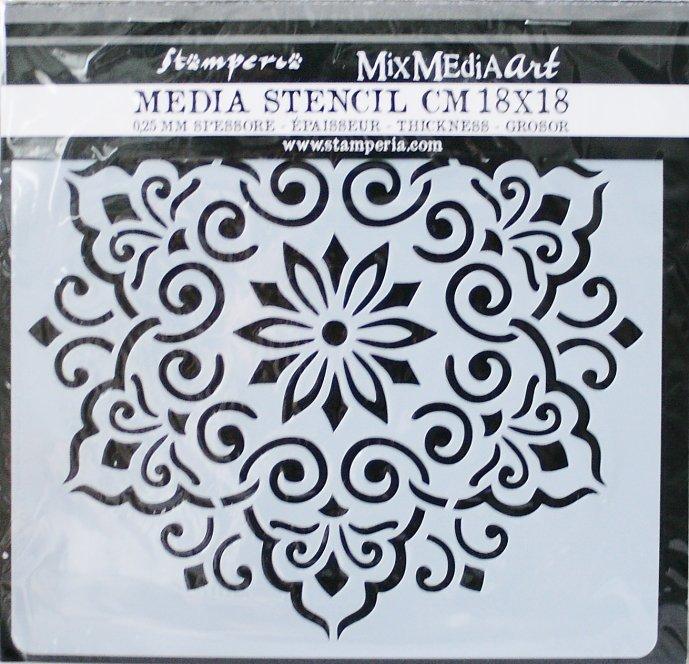 スタンペリア 【Lace】 厚手 ステンシルシート♪ 18x18cm KSTDQ08 テンプレート エンボス Stamperia