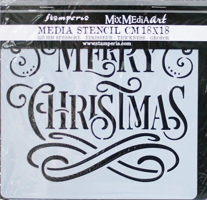 スタンペリア 【Merry Christmas】 厚手 ステンシルシート♪ 18x18cm KSTDQ15 テンプレート エンボス Stamperia