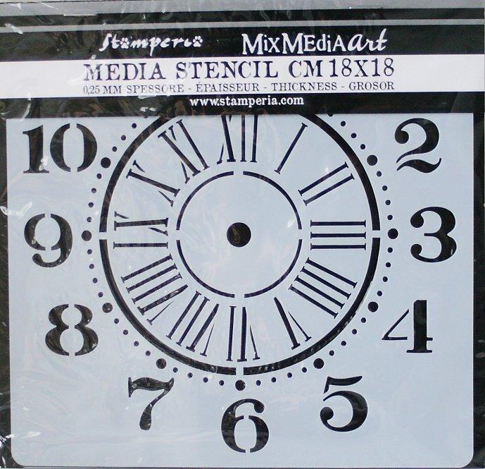 スタンペリア 【Clock】 厚手 ステンシルシート♪ 18x18cm KSTDQ06 テンプレート エンボス Stamperia