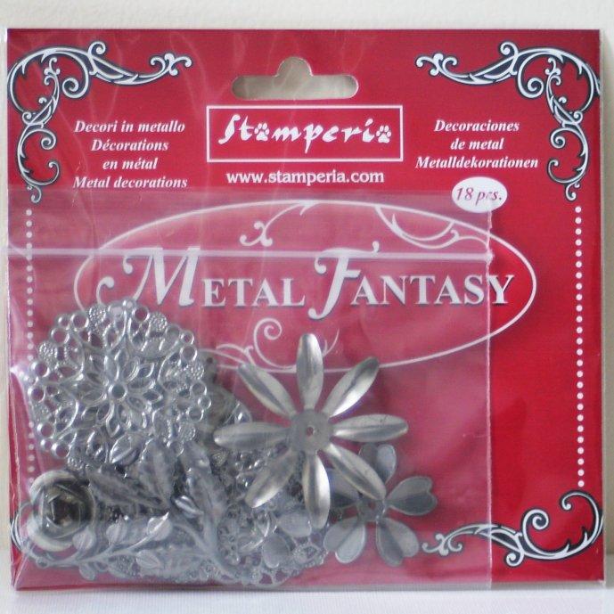 スタンペリア メタル エンベリッシュメント フラワー お花 メタルファンタジー Metal Fantasy-18pcs SBA380 メタル製装飾 Stamperia