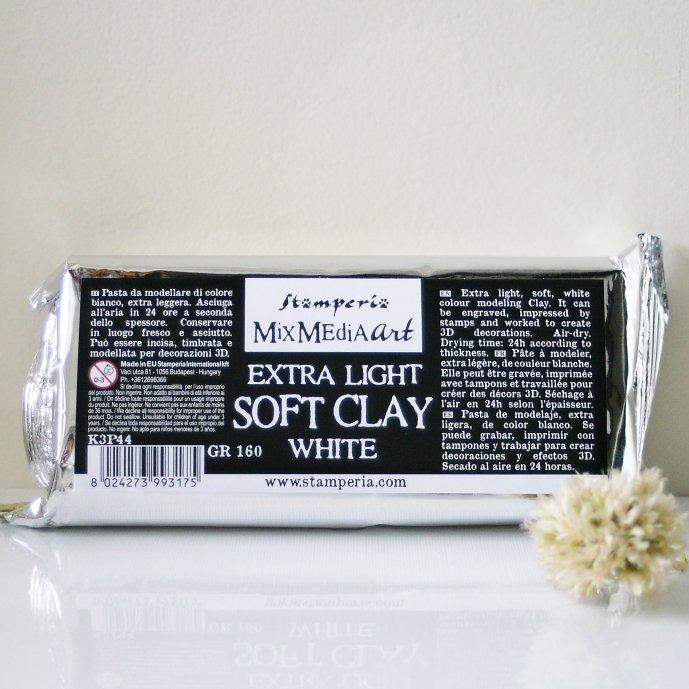 スタンペリア  ソフトクレイ Soft Clay 160g  K3P44 White クラフト用軽量粘土 Stamperia