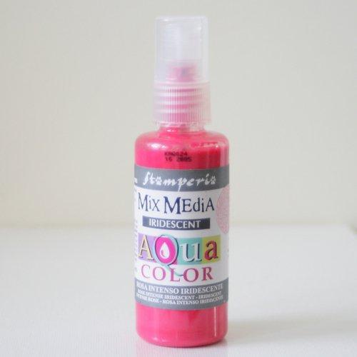 スタンペリア スプレー式絵の具 アクアカラー 【きらめきピンク】 Aquacolor spray 60ml-Iridescent intense pink KAQ024  Stamperia