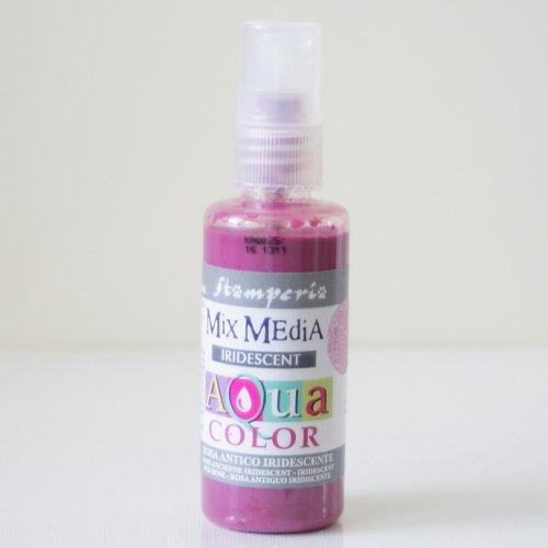 スタンペリア スプレー式絵の具 アクアカラー 【きらめきアンティークピンク】 Aquacolor spray 60ml-Iridescent Antique Pink KAQ025 Stamperia