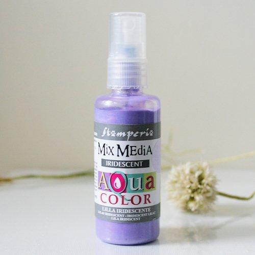 スタンペリア スプレー式絵の具 アクアカラー 【きらめきライラック】 Aquacolor spray 60ml- Iridescent lilac KAQ027 Stamperia