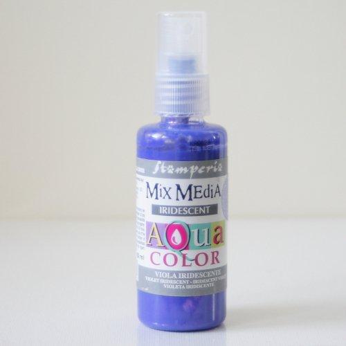 スタンペリア スプレー式絵の具 アクアカラー 【きらめきバイオレット】 Aquacolor spray 60ml- Iridescent violet KAQ028 Stamperia