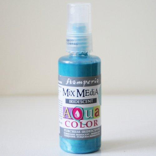 スタンペリア スプレー式絵の具 アクアカラー 【きらめきターコイズ】 Aquacolor spray 60ml- Iridescent Turquoise KAQ030 Stamperia