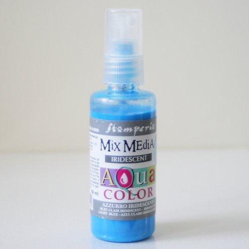 スタンペリア スプレー式絵の具 アクアカラー 【きらめきライトブルー】 Aquacolor spray 60ml- Iridescent Light Blue KAQ029 Stamperia