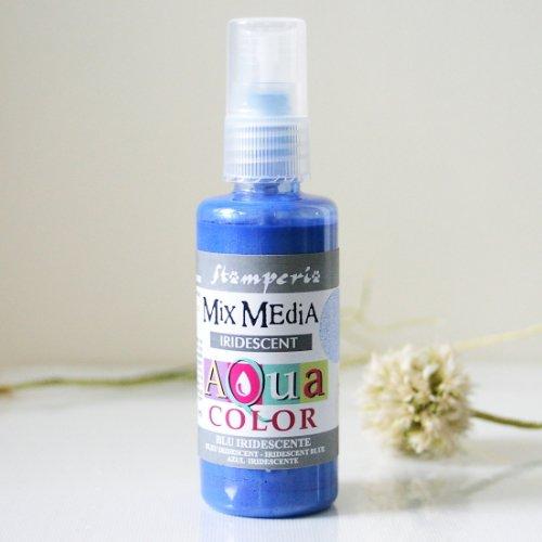 スタンペリア スプレー式絵の具 アクアカラー 【きらめきブルー】 Aquacolor spray 60ml- Iridescent Blue KAQ031 Stamperia