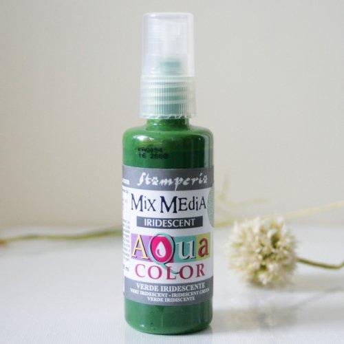 スタンペリア スプレー式絵の具 アクアカラー 【きらめきグリーン】 Aquacolor spray 60ml- Iridescent Green KAQ034 Stamperia