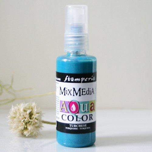 スタンペリア スプレー式絵の具 アクアカラー 【ターコイズ】 Aquacolor spray 60ml-Turquoise KAQ018 Stamperia