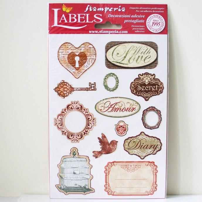 スタンペリア A5サイズ 装飾ラベル 【Amour】 Labels A5 DF3DA517 スクラップブッキング Stamperia