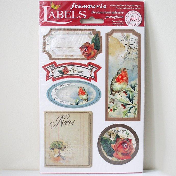 スタンペリア A5サイズ 装飾ラベル 【Flowers and poems】 Labels A5 DFLB004 スクラップブッキング Stamperia