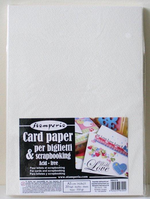 スタンペリア カード作りに。A5サイズ 厚紙 Card paper A5 350gr-20枚入 SBA374 Stamperia