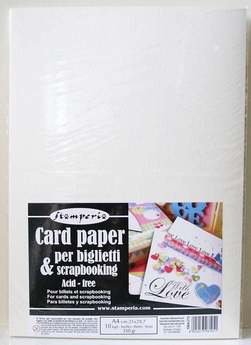 スタンペリア カード作りに。A4サイズ 厚紙 Card paper A5 350gr-10枚入 SBA375 Stamperia