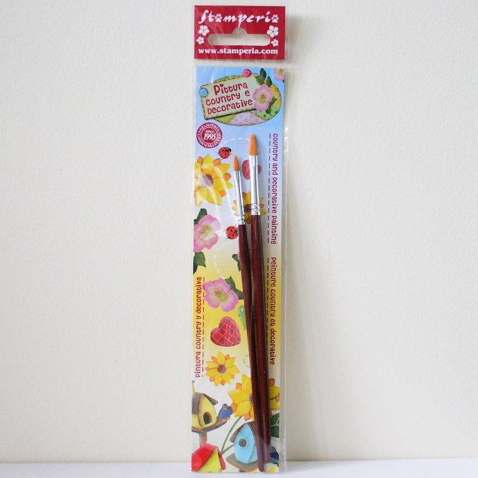 スタンペリア 筆 ブラシ 2本セット Cat Tongue brush size 2-6  デコパージュ ツール KR83 STAMPERIA