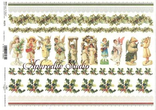 商用販売可能 少女の天使とヒイラギのボーダー クリスマス ヴィクトリアン デコパージュシート 1枚 和紙 ライスペーパー ITD Collection