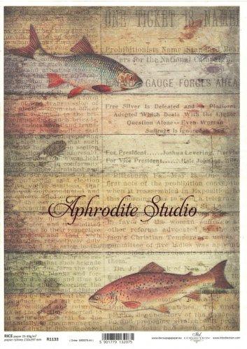 商用販売可能 木目と魚 デコパージュシート 1枚 和紙 ライスペーパー ITD Collection