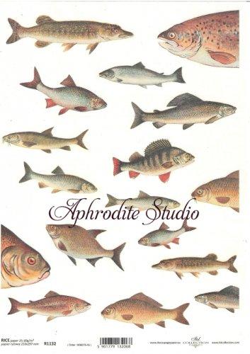 商用販売可能 魚 デコパージュシート 1枚 和紙 ライスペーパー ITD Collection