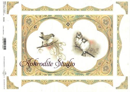 商用販売可能 小鳥とゴージャスフレーム デコパージュシート 1枚 和紙 ライスペーパー ITD Collection