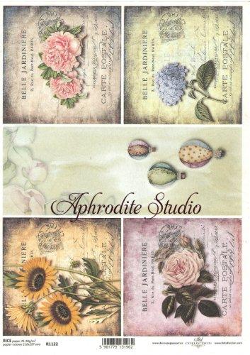 商用販売可能 花のカードと気球 デコパージュシート 1枚 和紙 ライスペーパー ITD Collection