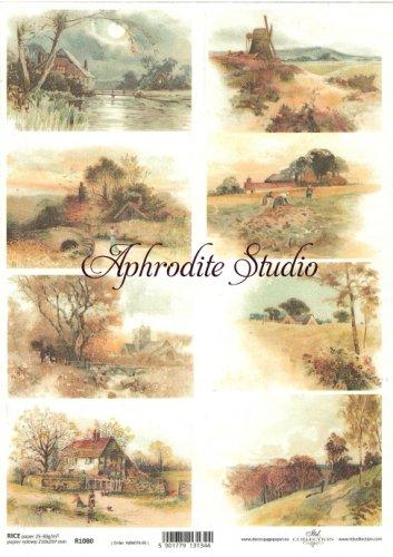 商用販売可能 田舎の風景 デコパージュシート 1枚 和紙 ライスペーパー ITD Collection