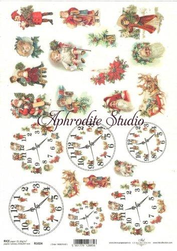 商用販売可能 時計とクリスマス サンタクロース 子供 デコパージュシート 1枚 和紙 ライスペーパー ITD Collection