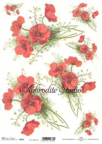 商用販売可能 紅いポピー デコパージュシート 1枚 和紙 ライスペーパー ITD Collection