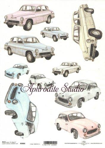 商用販売可能 レトロカー デコパージュシート 1枚 和紙 ライスペーパー ITD Collection