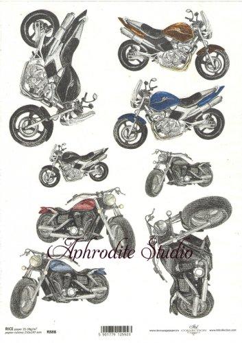 商用販売可能 バイク オートバイ デコパージュシート 1枚 和紙 ライスペーパー ITD Collection