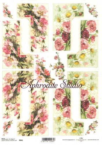 商用販売可能 花のコーナーフレーム デコパージュシート 1枚 和紙 ライスペーパー ITD Collection