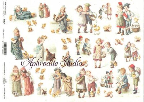 商用販売可能 イースターの子供たち デコパージュシート 1枚 和紙 ライスペーパー ITD Collection
