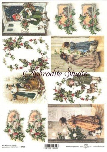 商用販売可能 カード クリスマス ヴィクトリアン デコパージュシート 1枚 和紙 ライスペーパー ITD Collection