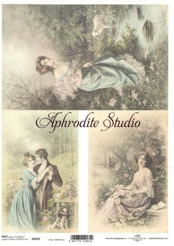 商用販売可能 3枚のレトロな写真 デコパージュシート 1枚 和紙 ライスペーパー ITD Collection