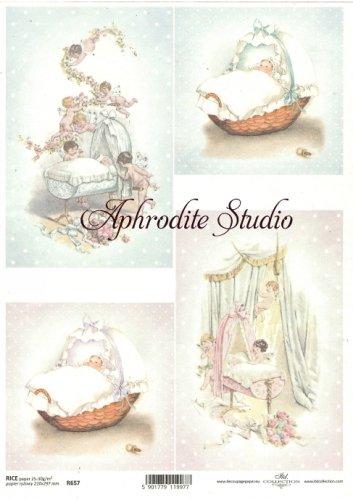 商用販売可能 赤ちゃんと天使 デコパージュシート 1枚 和紙 ライスペーパー ITD Collection
