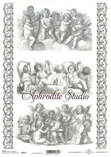 商用販売可能 天使とローマ時代の装飾 デコパージュシート 1枚 和紙 ライスペーパー ITD Collection