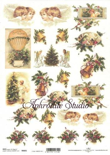 商用販売可能 小サイズ クリスマスの子供たち 気球 デコパージュシート 1枚 和紙 ライスペーパー ITD Collection