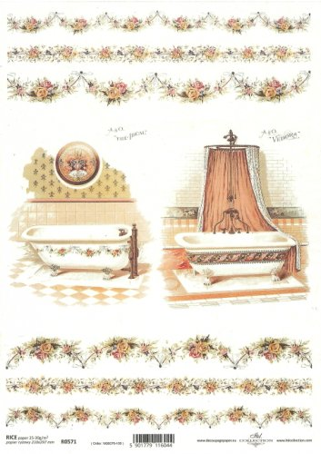 商用販売可能 バスルームと花のガーランド デコパージュシート 1枚 和紙 ライスペーパー ITD Collection