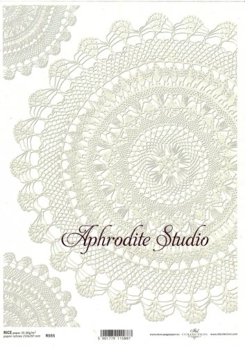 商用販売可能 レースドイリー ホワイト デコパージュシート 1枚 和紙 ライスペーパー ITD Collection