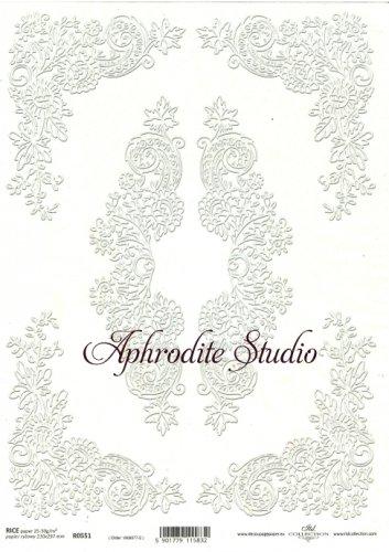 商用販売可能 デコラティブアクセント ホワイト デコパージュシート 1枚 和紙 ライスペーパー ITD Collection