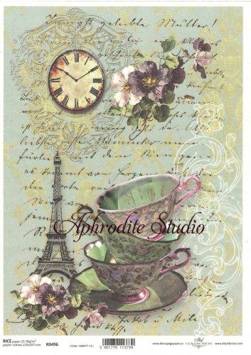 商用販売可能 フレンチスタイルのティーカップとエッフェル塔 デコパージュシート 1枚 和紙 ライスペーパー ITD Collection