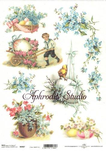 商用販売可能 わすれな草とひよこ イースター 花 デコパージュシート 1枚 和紙 ライスペーパー ITD Collection