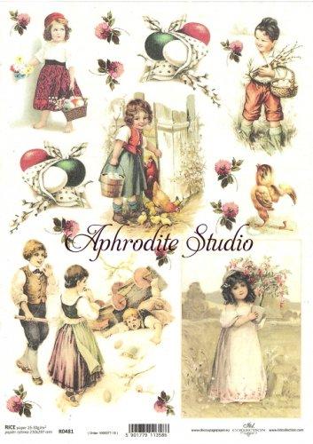 商用販売可能 子供たちとひよこ イースター 花 デコパージュシート 1枚 和紙 ライスペーパー ITD Collection