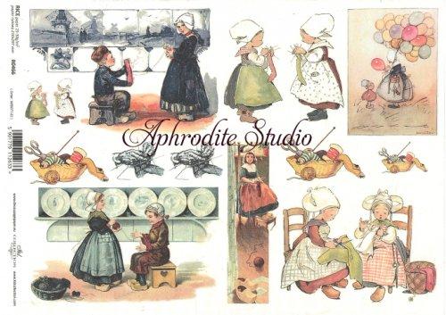 商用販売可能 レトロな子供たちのイラスト デコパージュシート 1枚 和紙 ライスペーパー ITD Collection
