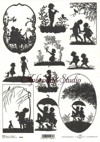 商用販売可能 子供たちのシルエット 影絵 デコパージュシート 1枚 和紙 ライスペーパー ITD Collection