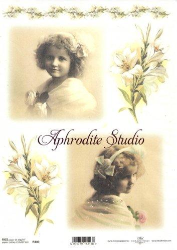 商用販売可能 百合とレトロ少女の写真 デコパージュシート 1枚 和紙 ライスペーパー ITD Collection