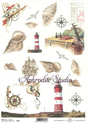 商用販売可能 灯台とシェル 貝殻 デコパージュシート 1枚 和紙 ライスペーパー ITD Collection