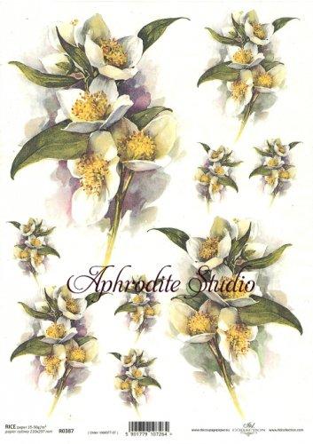 商用販売可能 白い花 デコパージュシート 1枚 和紙 ライスペーパー ITD Collection